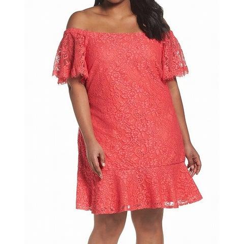 Eliza J Womens Plus Lace Off-Shoulder Shift Dress