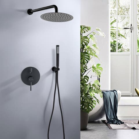 """Valve Shower Faucet Set Wall Mounted Shower Trim Kit with 10"""" Roud Rain Shower head and Handheld Shower Head Set"""