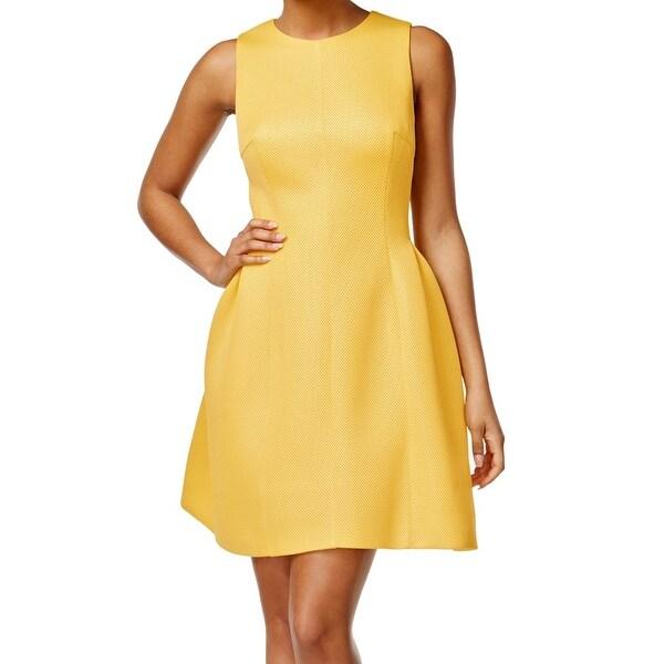 Shop Calvin Klein New Yellow Textured Fit Amp Flare Women S
