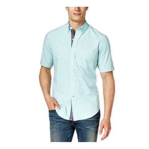 Club Room Mens Gingham Pocket Button Up Shirt