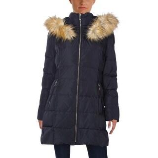 Ivanka Trump Womens Puffer Coat Smocked Hooded