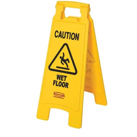"Rubbermaid 6112-77-YEL ""Caution Wet Floor"" 2-Sided Floor Sign, Yellow, 25"""