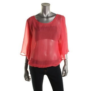 Pure & Simple Womens Pullover Top Chiffon Solid - s