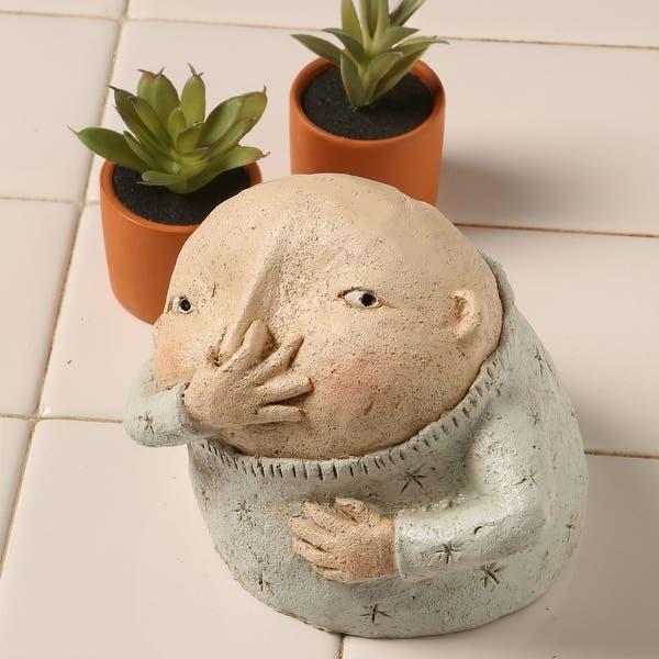 Boy Holding Nose Sculpture Primitive Kitschy Figurine Bathroom Decor Beige Overstock 27998693