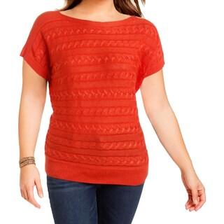 Lauren Ralph Lauren Womens Pullover Sweater Cable Knit Dolman Sleeves Orange M