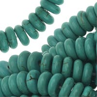 Blue Turquoise Gem Rondelle Beads 8X3mm / 15.5In Strand