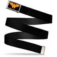 Wonder Woman Logo Fcg Black Chrome Black Webbing Web Belt