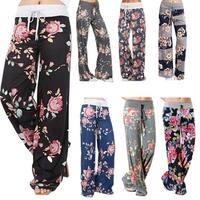 Women  Casual Pajama Pants Floral Drawstring Wide Leg High Waist Palazzo Lounge Pants