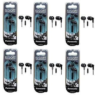 Panasonic ErgoFit In-Ear Earbud Headphones with Mic/Controller - 6 Pack (Black)