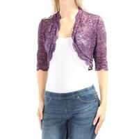 R&M RICHARDS Womens Purple Floral Evening Jacket Petites  Size: 4