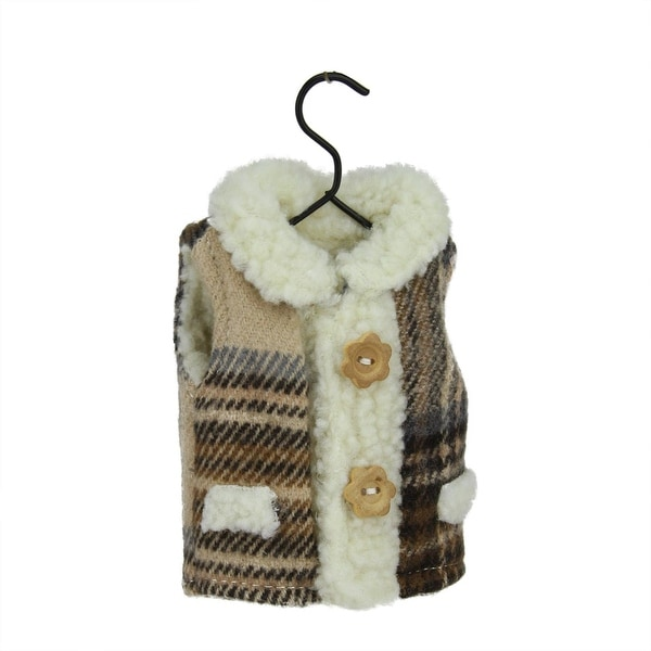 """5.25"""" Country Cabin Brown Plaid Winter Vest on Hanger Christmas Ornament"""