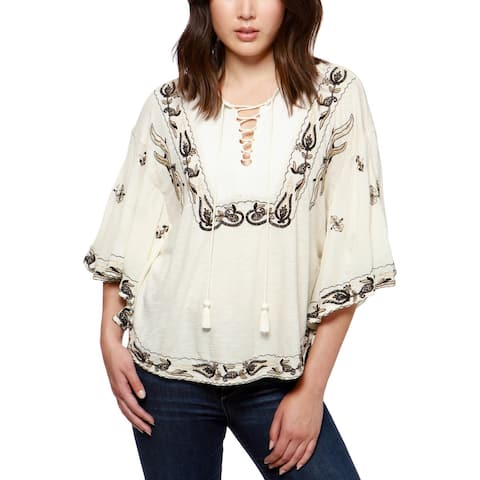 7aa7598764a48a Lucky Brand Womens Peasant Top Woven Embroidered