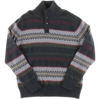 Tommy Hilfiger Mens Fair Isle Mock Neck Pullover Sweater