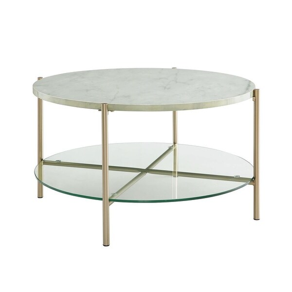 Offex 32 Round Coffee Table With White Marble Top Gl Shelf And Gold Legs