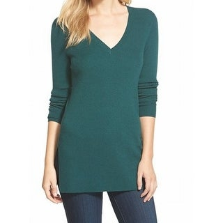 Halogen NEW Hunter Green Women's Size Medium M V-Neck Ribbed Sweater
