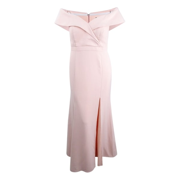 75a95ddaf1b8b Shop Xscape Women's Plus Size Off-The-Shoulder Slit Gown - Blush - Free  Shipping Today - Overstock - 26886818
