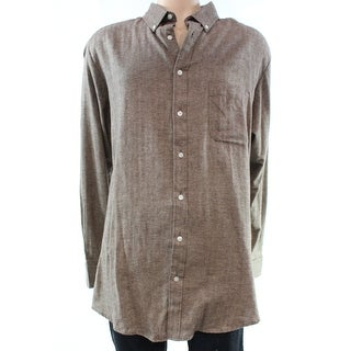 John Ashford NEW Brown Mens Size XLT Button Down Herringbone Shirt