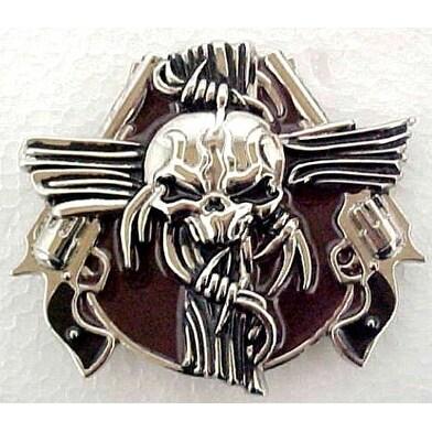 Western Skull & Revolvers Chrome Belt Buckle