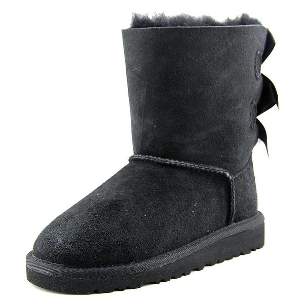 Ugg Australia Bailey Bow Youth Round Toe Suede Black Winter Boot