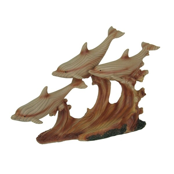 Faux Carved Dolphins Swimming On Waves Wood Look Statue - 6.75 X 10.5 X 3 inches