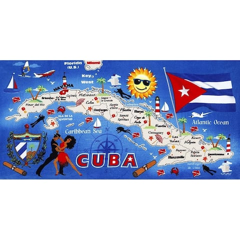 Cuba Map 30x60 Brazilian Velour Beach Towel