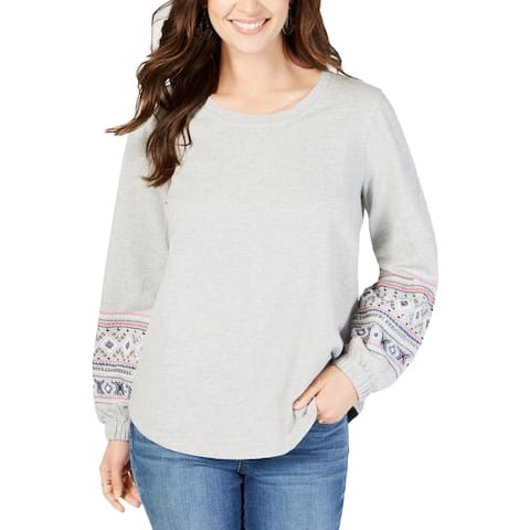 Style & Co Women's Yoke Crew Neck Pullover Top Grey Size Large