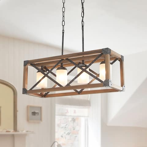 OYIPRO-Modern Rustic 4 Lights Rectangle Farmhouse Chandelier - 27.6 inch