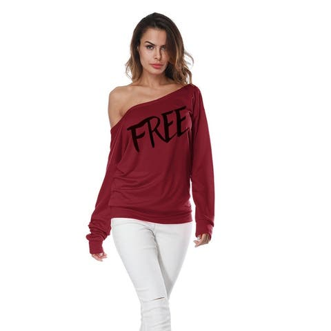 Sexy Leaky Shoulder Loose Sweater Free Print Tops