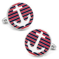 Striped Anchor Cufflinks