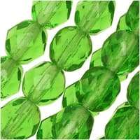 Czech Fire Polished Glass Beads 6mm Round Light Emerald Green (25)