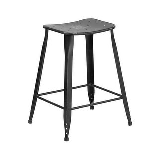 Offex 24'' High Distressed Black Metal Indoor-Outdoor Counter Height Stool