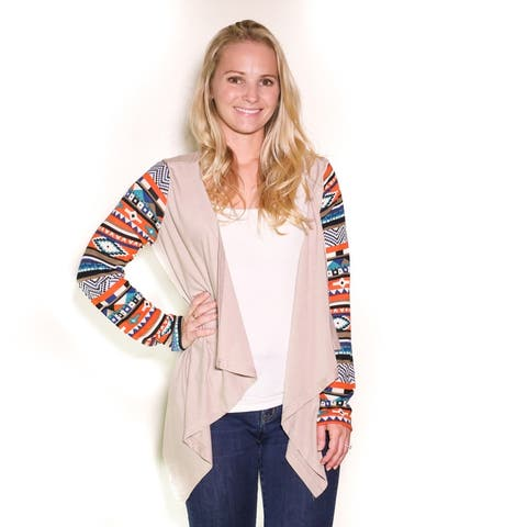 Print Sleeve Color Cardigan  Sizing Up To 3Xl