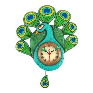 Allen Designs Pretty Peacock Pendulum Wall Clock