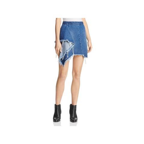 Blank NYC Womens Asymmetrical Skirt Distressed Draped