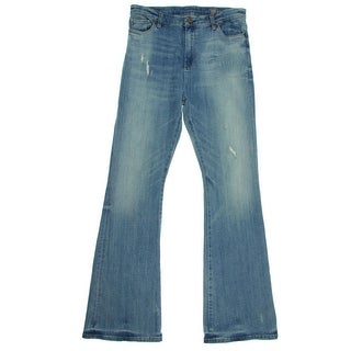 Blank NYC Womens Flare Jeans Denim Distressed