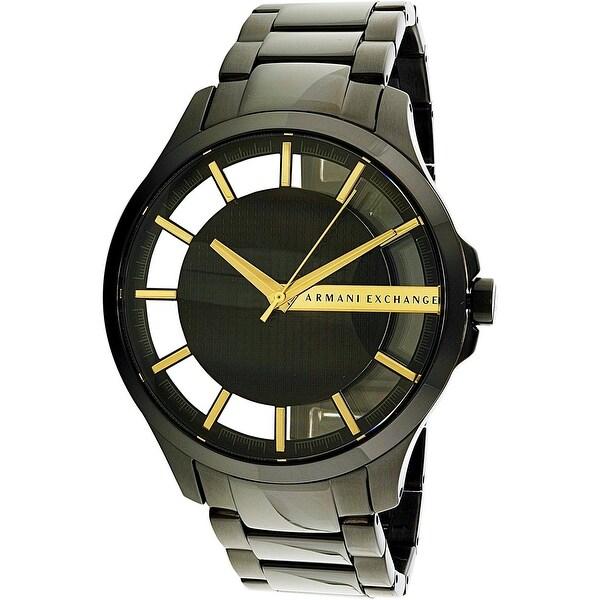 6dc5eed1630b Shop Armani Exchange Men s Hampton Black Stainless-Steel Quartz Dress Watch  - Free Shipping Today - Overstock - 18616927