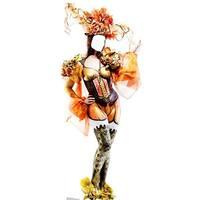 76 x 32 in. Mardi Gras Showgirl Standin Cardboard Standup