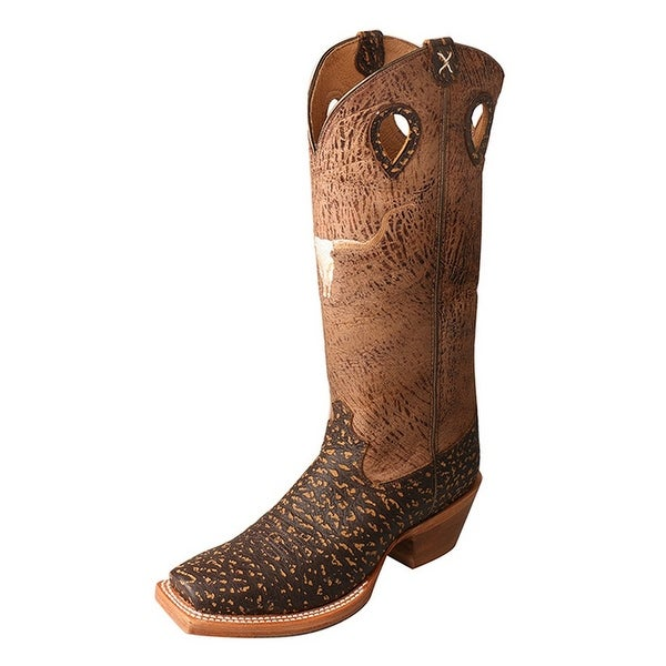 Twisted X Western Boots Mens Gold Buckle Buckaroo Chocolate
