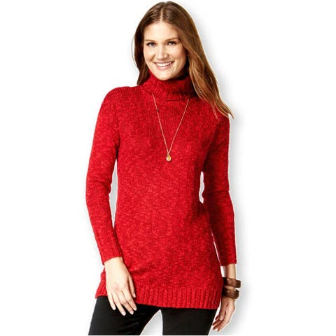 American Living Womens Marled Turtleneck Pullover Sweater, Red, XX-Large