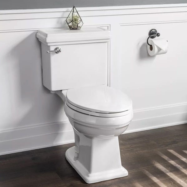 Miseno MNO240C High Efficiency 1.28 GPF Two-Piece Elongated Chair Height Toilet with Slow-Close Seat and Wax Ring Included