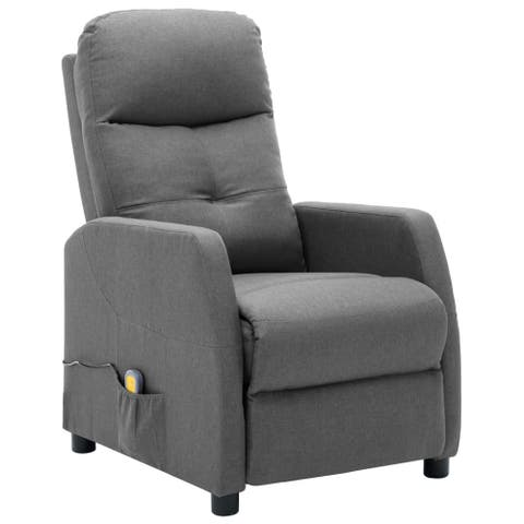 vidaXL Massage Recliner Light Gray Fabric