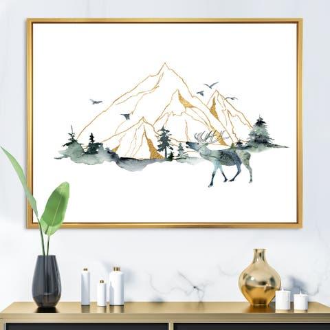 Designart 'Minimalistic Landscape of Forest Mountains & Deer' Modern Framed Canvas Wall Art Print