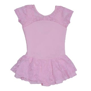 Danshuz Pink Cap Sleeve Bow Lace Chiffon Layer Dance Dress Little Girls 2-10