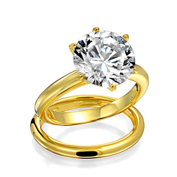 c840ed598fd 3.5CT Solitaire CZ Engagement Wedding Ring Set Thin Traditional Band Cubic  Zirconia Gold Plated 925