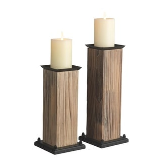 Set of 2 Brown and Black Contemporary Pillar Candle Holders 14""