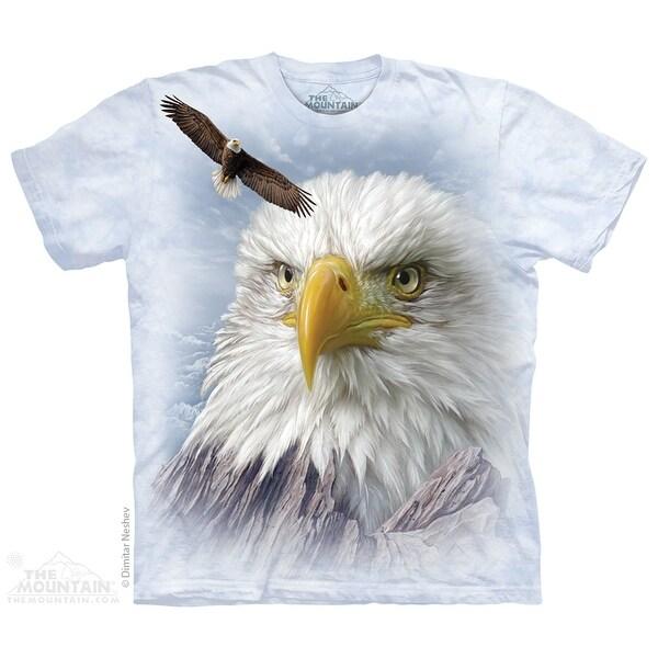 The Mountain Cotton Eagle Mountain Design Novelty Adult T-Shirt (White)