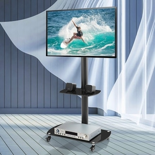 """Mobile TV Cart Rolling TV Stand with Laptop Shelf/Tray, Locking Wheels for 32-65 inch,Black - 27.6""""W x 16.5""""D x 53.1""""H Inches"""