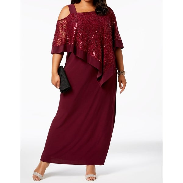 03aa8a26 Shop R&M Richards Women's Plus Sequin Lace Capelet Maxi Dress - Free ...