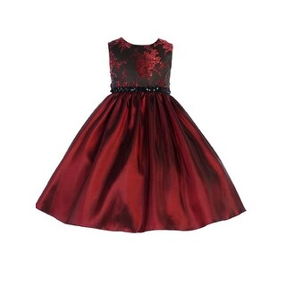 Crayon Kids Little Girls Burgundy Floral Sequin Flower Girl Dress