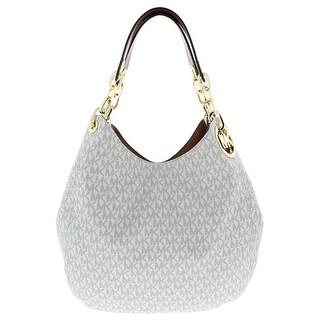 Michael Kors Womens Fulton Shoulder Handbag Faux Leather Logo - Large